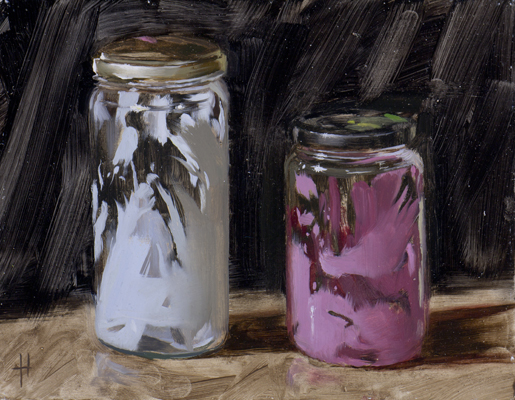 jars with pink and white