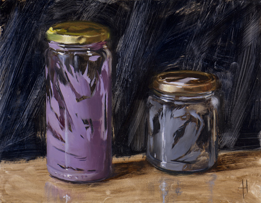 jars with purple and grey
