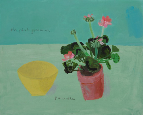 the pink geranium and yellow bowl